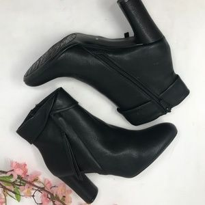 Impo Faux Pebbled Leather Black Heeled Ankle Boots
